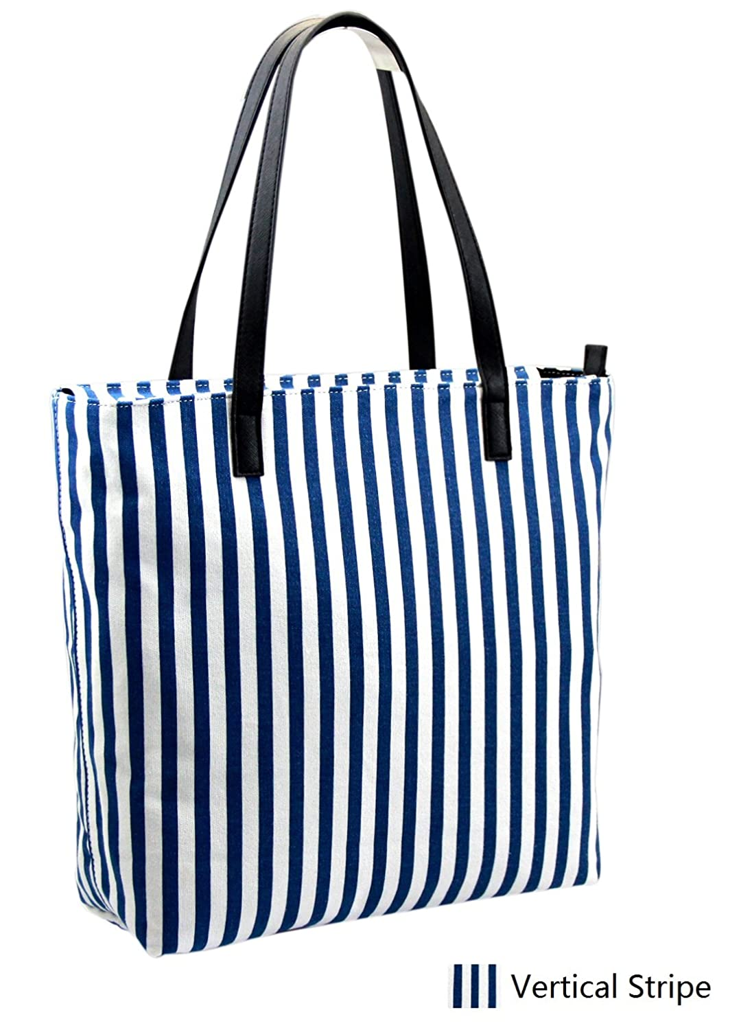 Hyco BLS01 Women Handbag Navy and White Stripped Canvas Practical Shoulder Bag