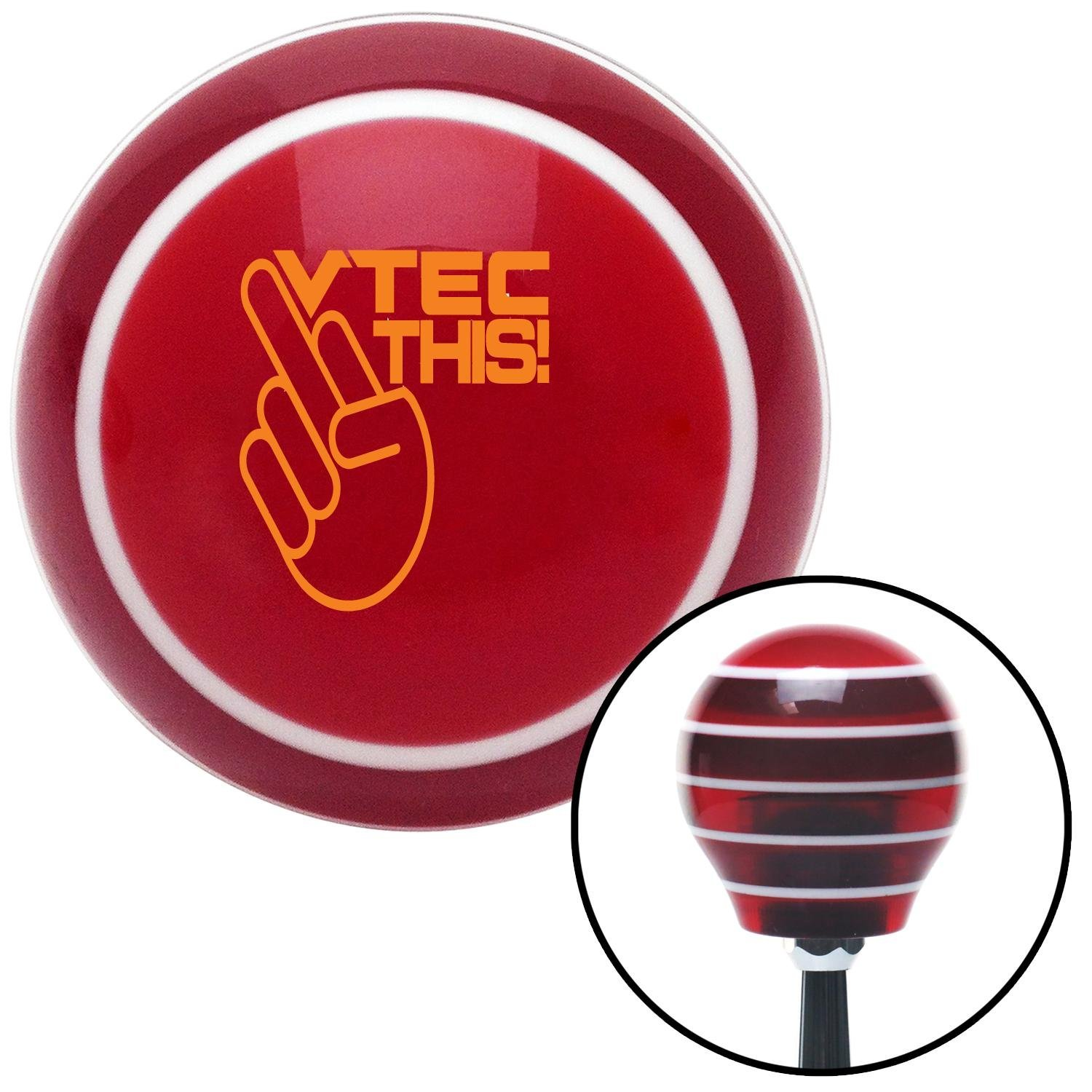 Orange VTEC This! American Shifter 114924 Red Stripe Shift Knob with M16 x 1.5 Insert
