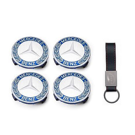 Set 4X Tapacubos 75mm Azul Cielo para Mercedes Logo Tapas para Llantas de Aleación (+