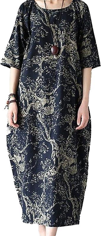 Vestidos Casuales De Lino De Algodón De Manga Corta Holgados Más El Vestido Maxi del Tamaño De Las Mujeres: Amazon.es: Ropa y accesorios