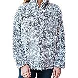 Clubdeer Womens 1/4 Zip Fleece Sherpa Pebble Pile Fleece Fuzzy Unisex Sweatshirt Winter Coat