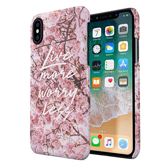 Amazoncom Live More Worry Less Pink Cherry Blossoms Floral