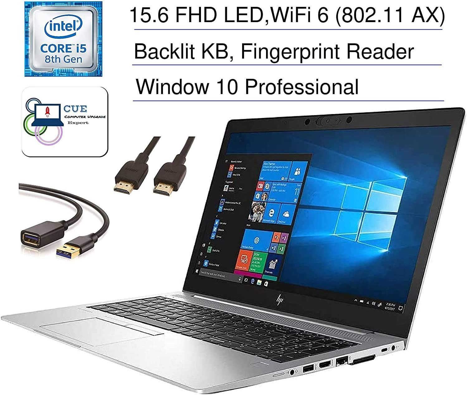 "HP Elitebook 850 G6 15.6"" Full HD FHD (1920x1080) Business Laptop (Intel Core i5-8365U) Fingerprint, Backlit, Type-C, Thunderbolt 3, HDMI, Windows 10 Pro + CUE Accessories (32GB DDR4, 1TB SSD)"