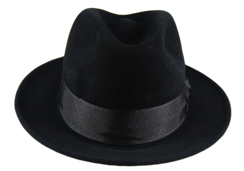 661ea9eb8fa0e Dobbs Black Fur Felt Argosy Fedora Size 7 3 8 Oval 2