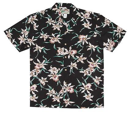 fa2ec05bdb0980 Paradise Found Men's Star Orchid Tom Sellect Magnum PI Hawaiian Shirt,  Black, ...
