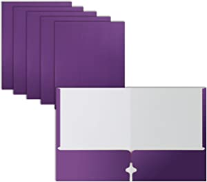 Two Pocket Portfolio Folders, 50-Pack, Purple, Letter Size Paper Folders, by Better Office Products, 50 Pieces, Purple