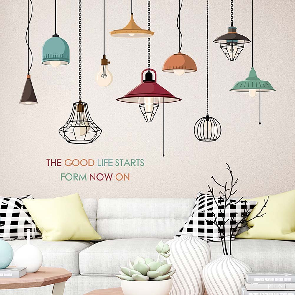Walldecals colorful hanging style chandelier wall sticker retro home decal ceiling lamp art sticker for living room girls bedroom nursery vinyl mural
