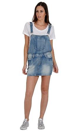 Womens Denim Bib Overall Dress Faded Distressed Denim Summer Skirt ...