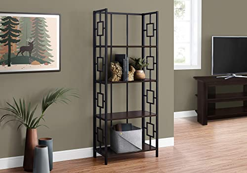 Monarch Specialties Bookcase Etagere 4 Tier Open Storage Shelves Living Room Office or Bedroom Narrow Tall Metal Frame Bookshelf Review