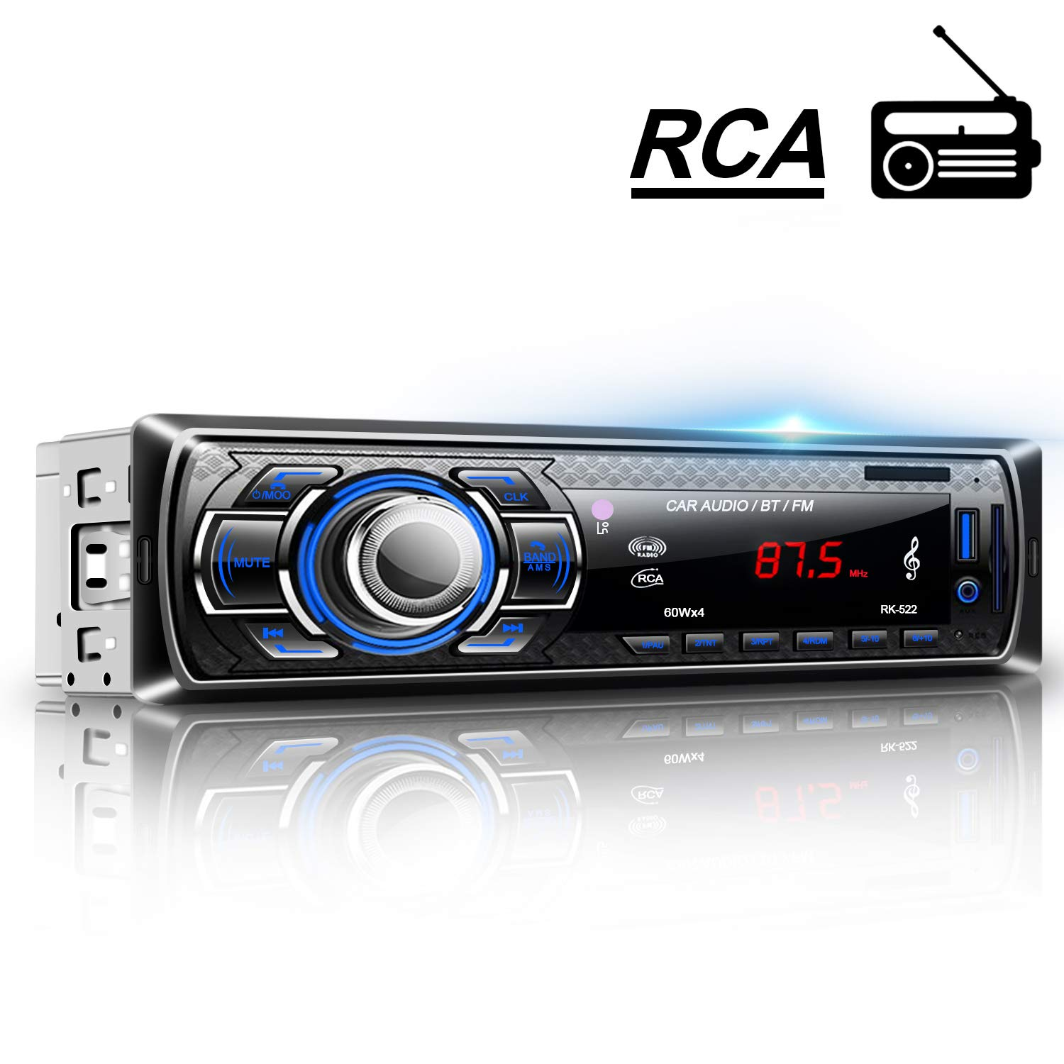 LESHP Car Stereo Bluetooth Car Radio MP3 Player FM Radio Single DIN with Remote Control Support Hands-free Call USB SD FM AUX DC12V for Installing at Center Console Car SUV