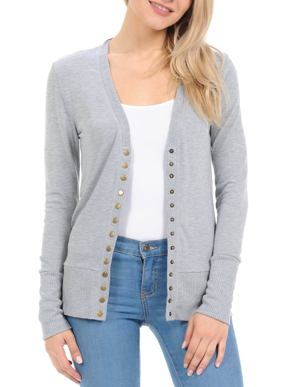 Women's Snap Button Sweater Cardigan with Ribbed Detail, H. Grey, Medium