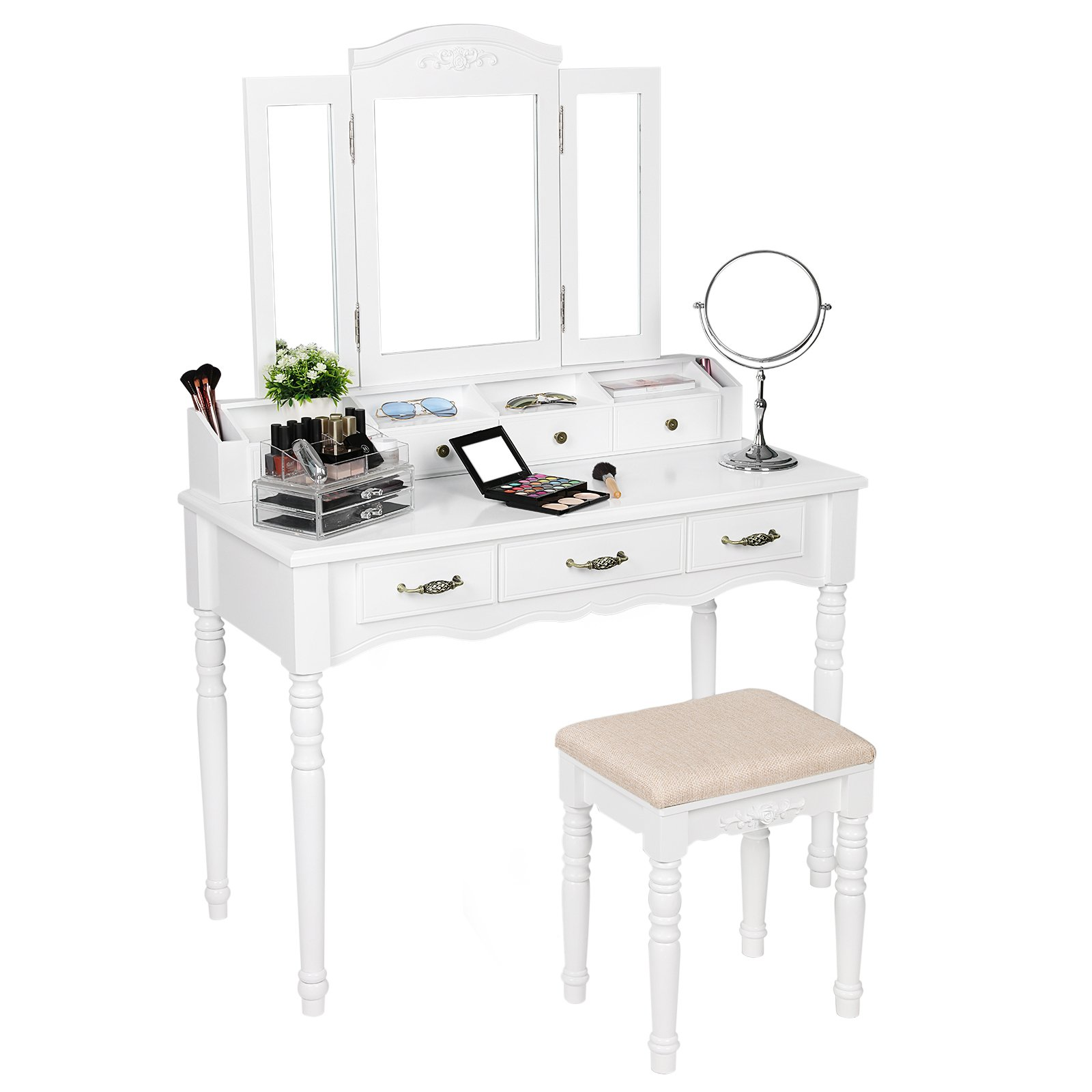 SONGMICS 7 Drawers Vanity Table Set with Tri-folding Mirror 6 Organizers Makeup Dressing Table with Cushioned Stool White URDT06M