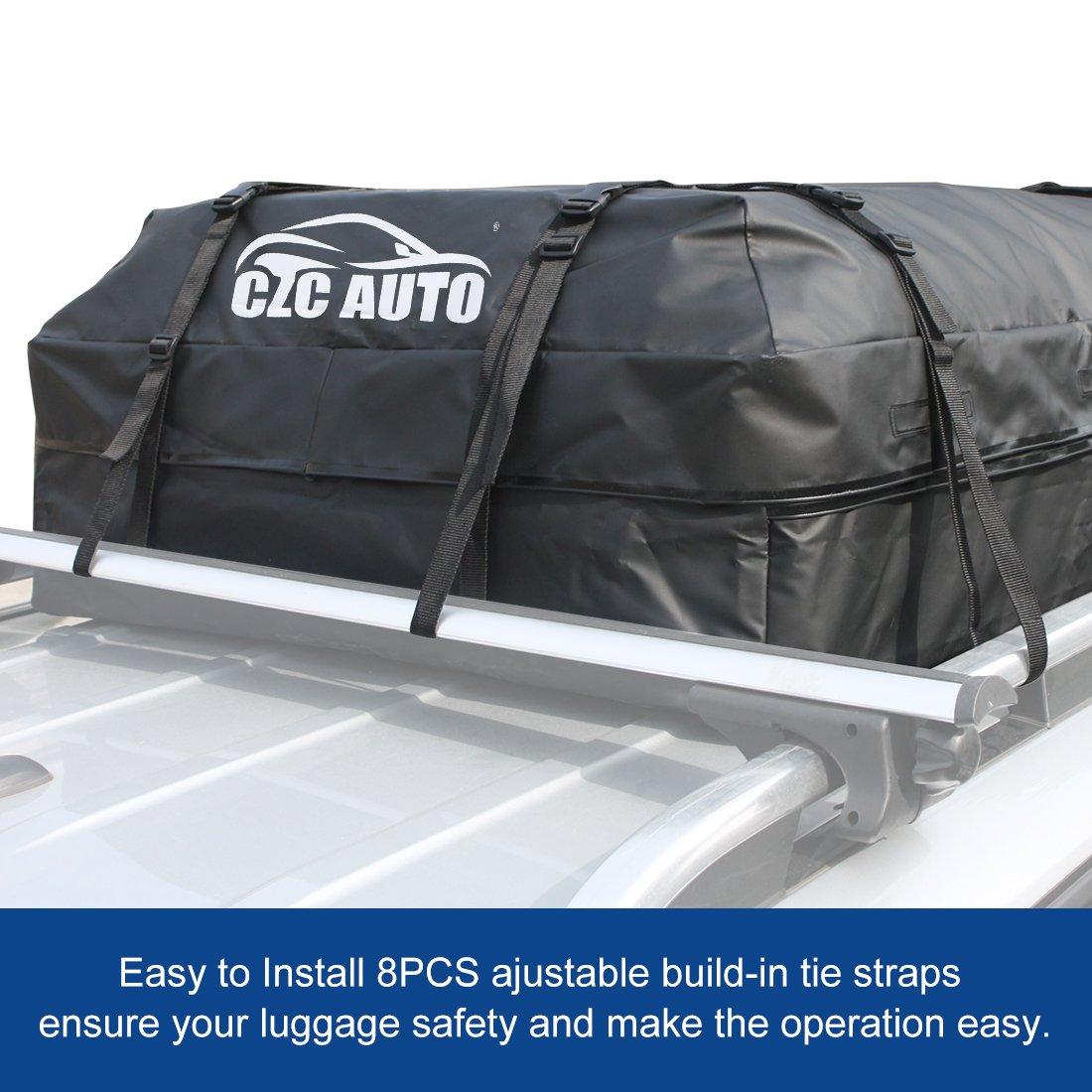 CZC AUTO Car Roof Cargo Carrier, 15 cu. ft Waterproof/Rainproof/Weatherproof Rooftop Storage Bag for Car SUV Van Sedan with Roof Rail Cross Bar Basket or Rack, Soft, Black by CZC AUTO (Image #2)