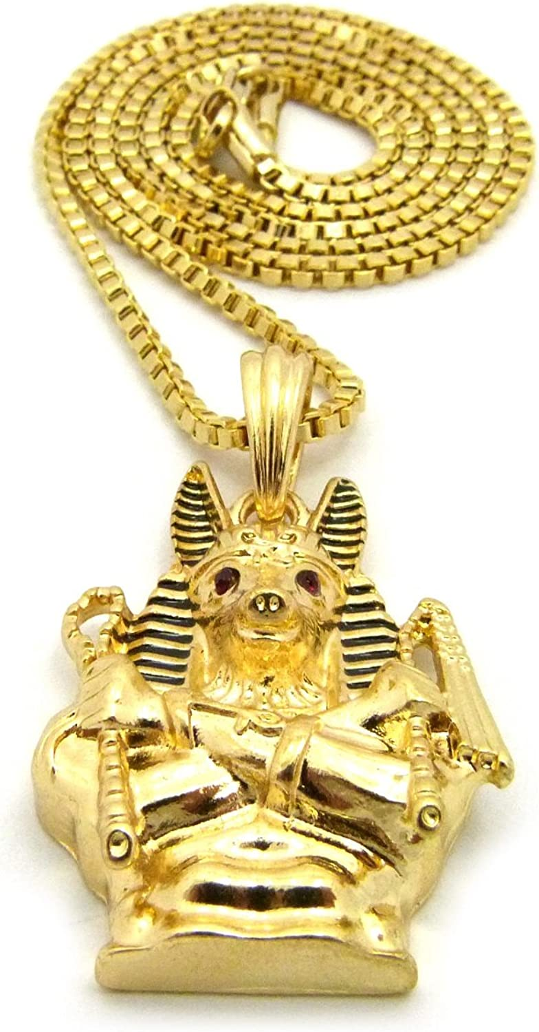 Fashion 21 Egyptian God Holding Crook /& Flail Anubis Pendant 24 Various Chain Necklace Gold-Tone
