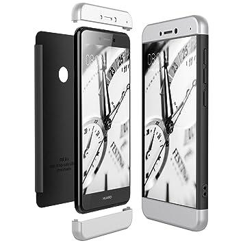 CE-Link Funda Huawei P8 Lite 2017, Carcasa Fundas para Huawei P8 Lite 2017, 3 en 1 Desmontable Ultra-Delgado Anti-Arañazos Case Protectora - Plata + ...