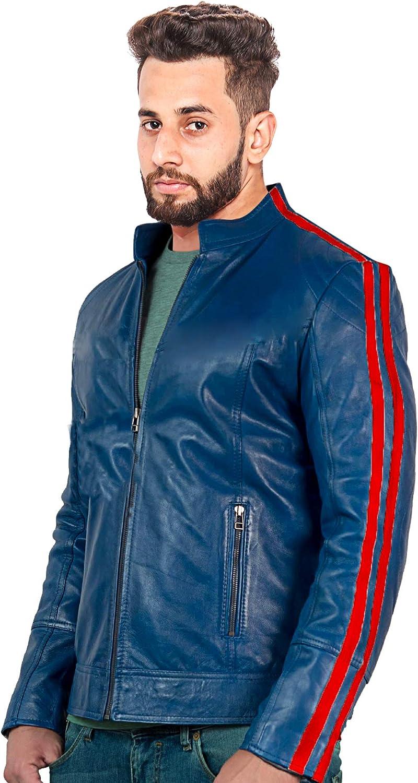LeatherCreative Mens Slick Series Genuine Leather Blue Biker Style Jacket Red Stripes on Sleeves