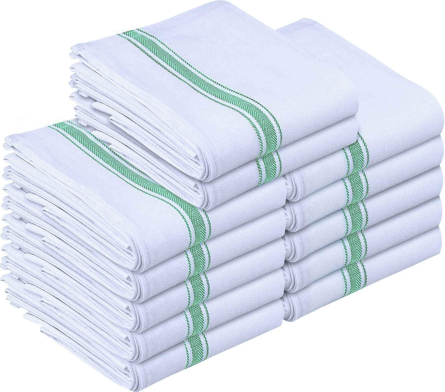 Utopia Towels 12 Pack Dish Towels - Resuable Kitchen Towels -15 x 25 Inches Ultra Soft Cotton Dish Cloths - Super Absorbent Cleaning Cloths, Green