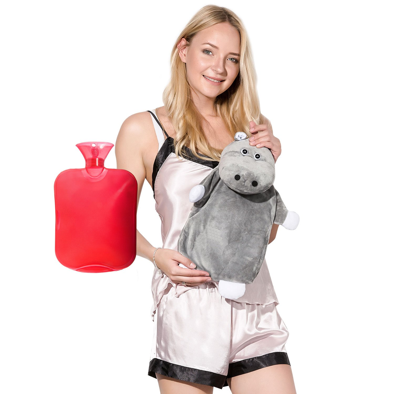 Peterpan Transparent Classic Rubber Hot Water Bottle with Animal Cover,2 Liter Hot Water Bag/Ice Bag,Red