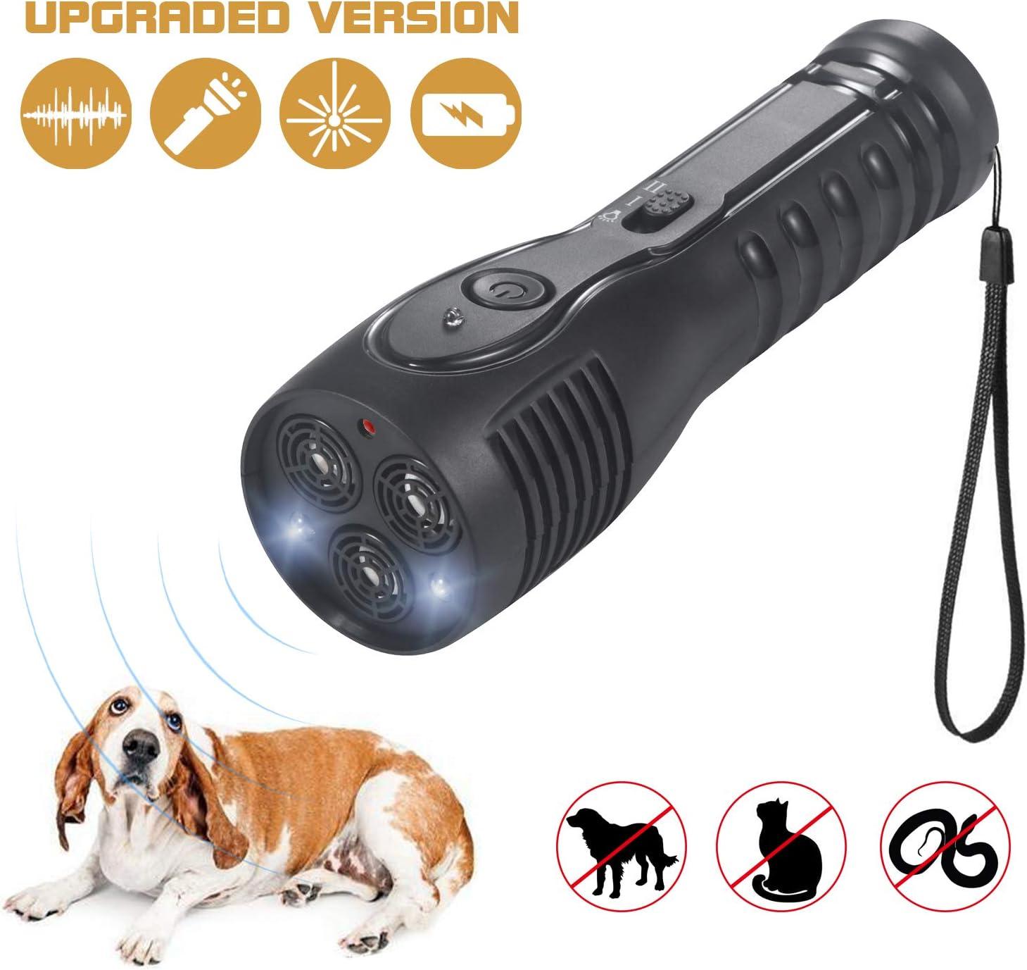 PetUlove Handheld Ultrasonic Dog Repeller, Dog Bark Deterrent Rechargeable with LED Flashlight Infrared Anti Barking Device Good Behavior Dog Training
