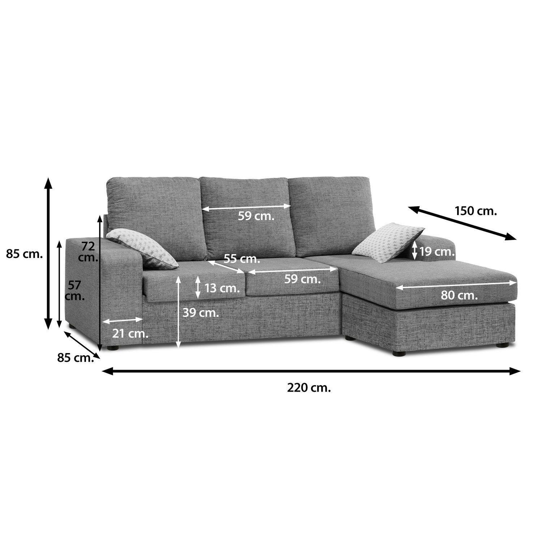 Muebles Baratos Sofa ChaiseLongue, con Tara, montado, Color ...