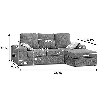 Muebles Baratos Sofa con ChaiseLongue, 3 plazas, MONTADO, Color Gris, ref-54