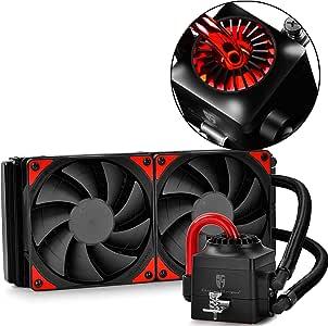 DeepCool CAPTAIN 240EX Refrigeración Líquida CPU Cooler AIO con LED Rojo, Refrigerador Liquido Silencio con 240mm PWM Ventilador Doble (AM4 Compatible), Color Negro ...