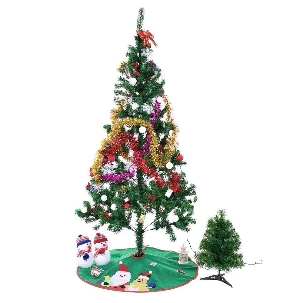 Ohuhu 36'' Tree Skirt, GreenSantaClaus& ReindeerEmbroideredChristmasTreeSkirt, Christmas Ornaments Christmas Decoration