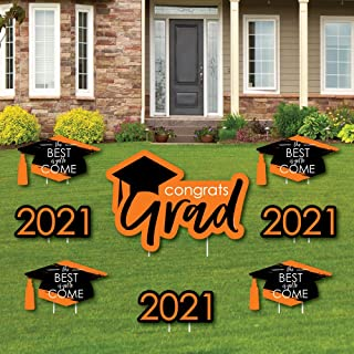product image for Big Dot of Happiness Orange Grad - Best is Yet to Come - Yard Sign and Outdoor Lawn Decorations - Orange 2021 Graduation Party Yard Signs - Set of 8
