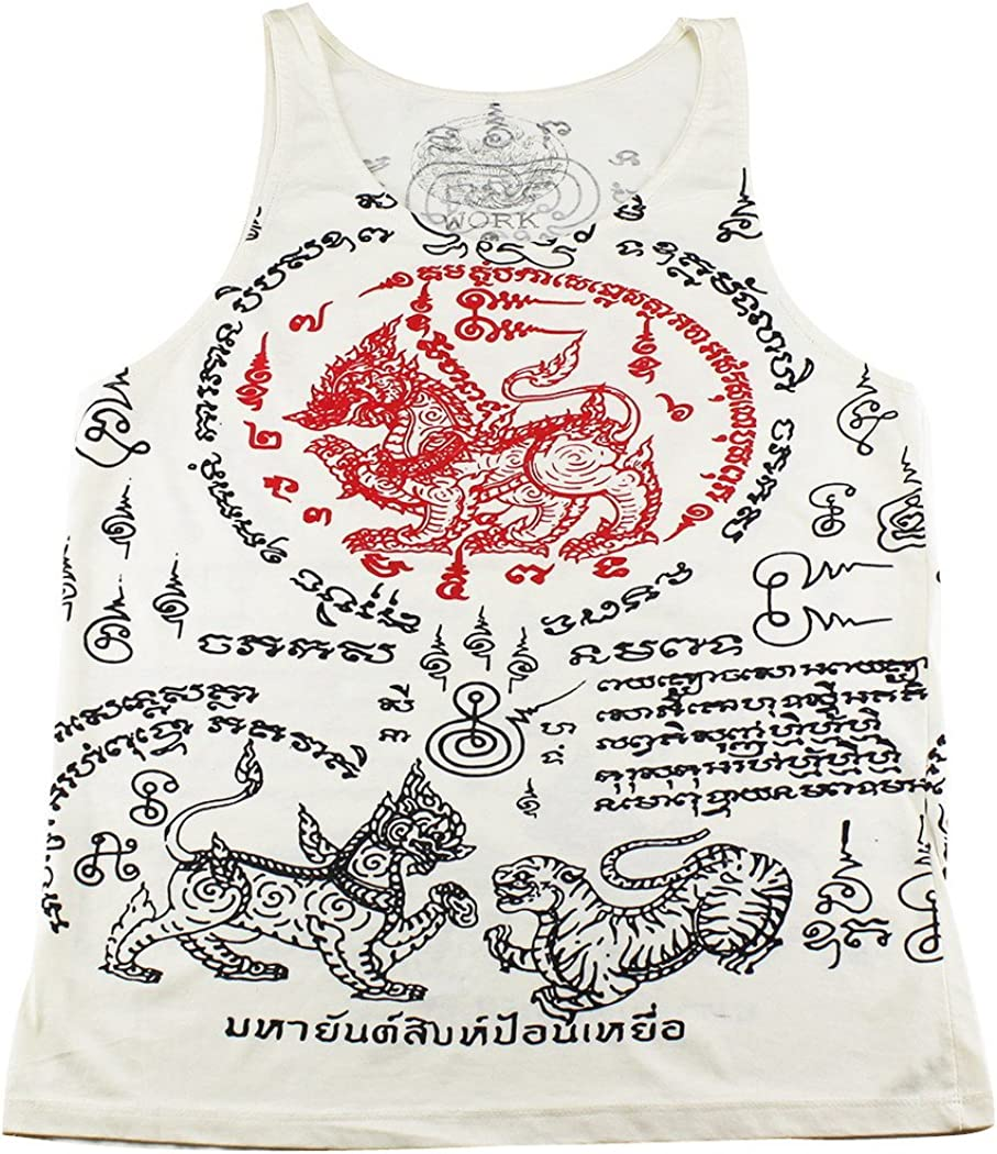 Work Muay Thai Tattoo Sak Yant Krut Tiger Tank Top White/WK-T12 Size M