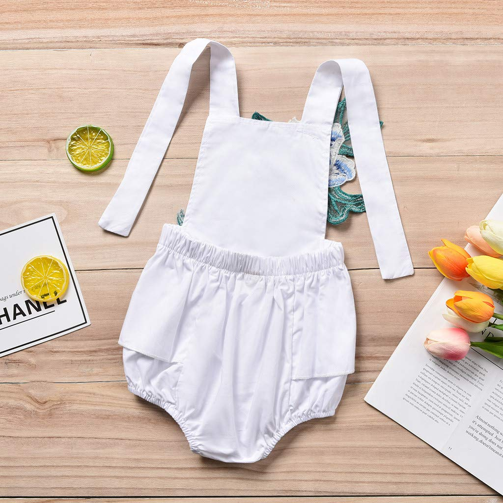 Jonecal Baby Romper,Newborn Infant Baby Sommer Backless Floral Embroidery Jumpsuit Outfits Clothes
