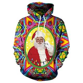 Baianf Donna Uomo Babbo Natale Alce Lanterna Festival Regalo di Natale Natale Inverno Hip-Hop Punk 3D Stampato Cartoon Felpe Pullover Colorful Felpe con Cappuccio Coppia (Size : L)