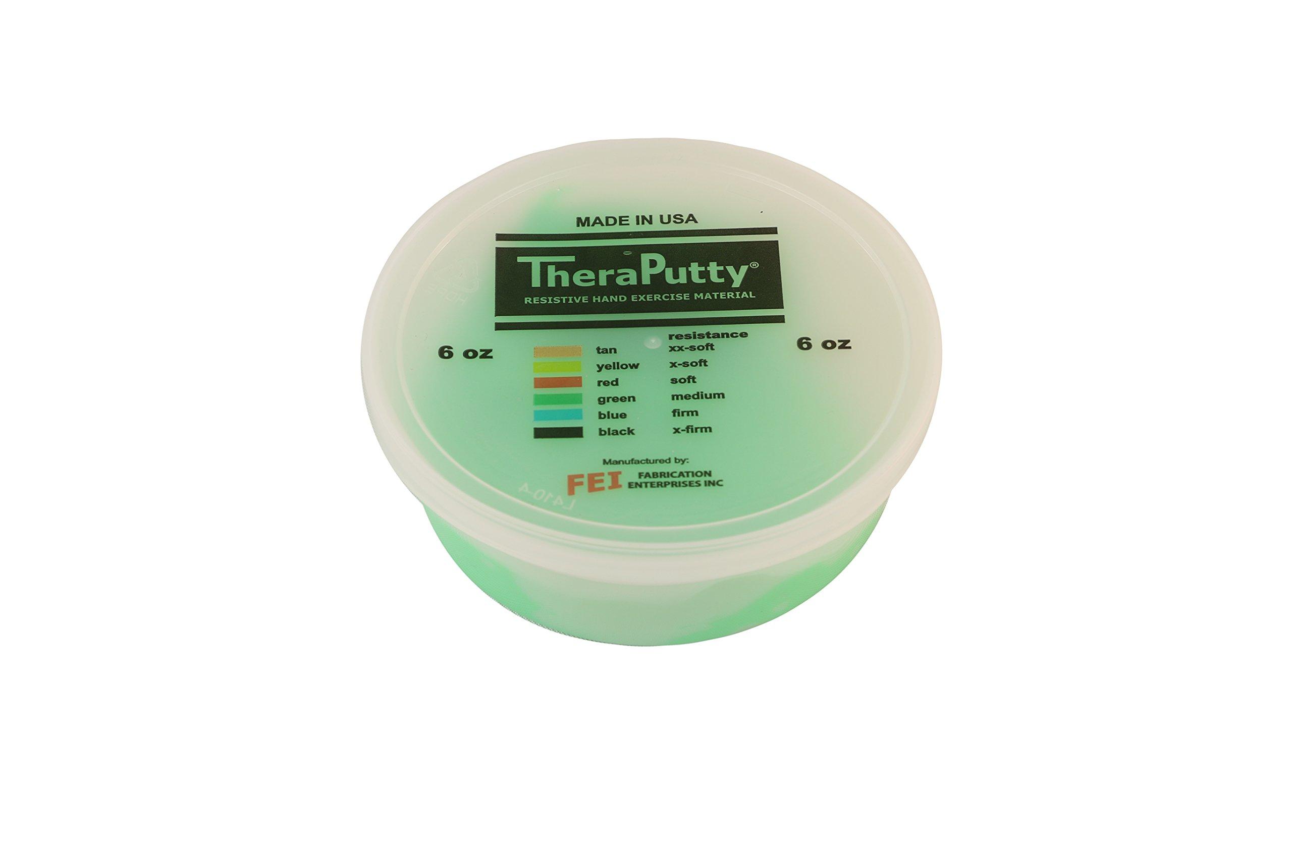 CanDo TheraPutty Plus Anti-microbial, Green: Medium, 6 oz