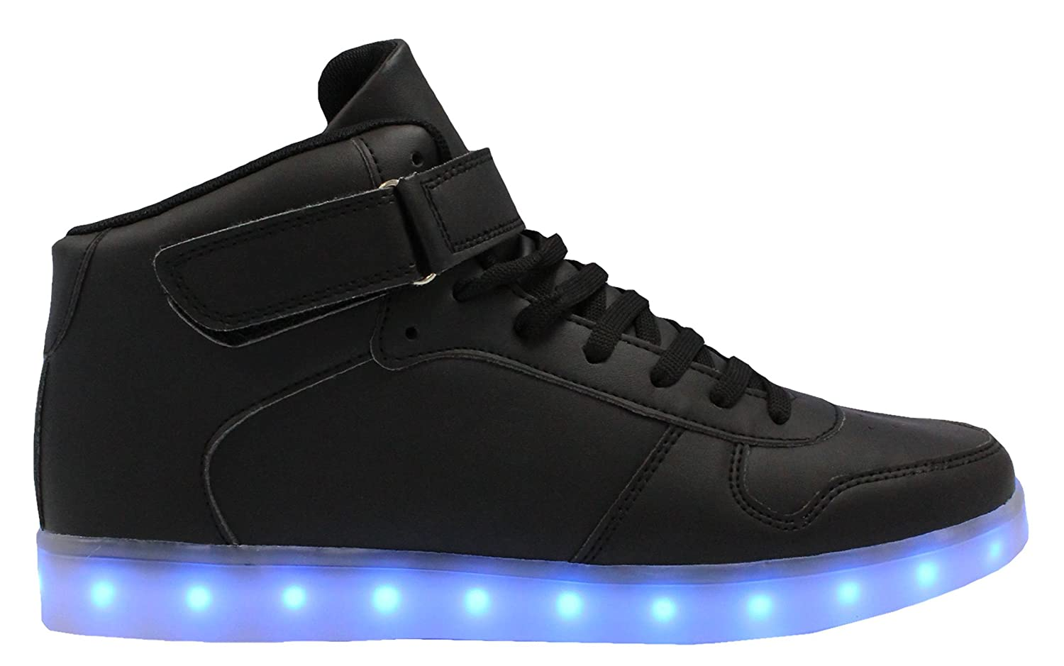 Transformania Toys Galaxy LED Shoes Light Up USB Charging High Top Lace & Strap Sneakers B076VTYYMH 9 US Kid / 25 E.U.|Black