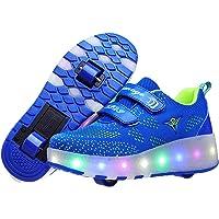 LuckyW Led Luces Zapatos con Doble Ruedas Automática Calzado de Skateboarding Deportes de Exterior Patines en Línea…