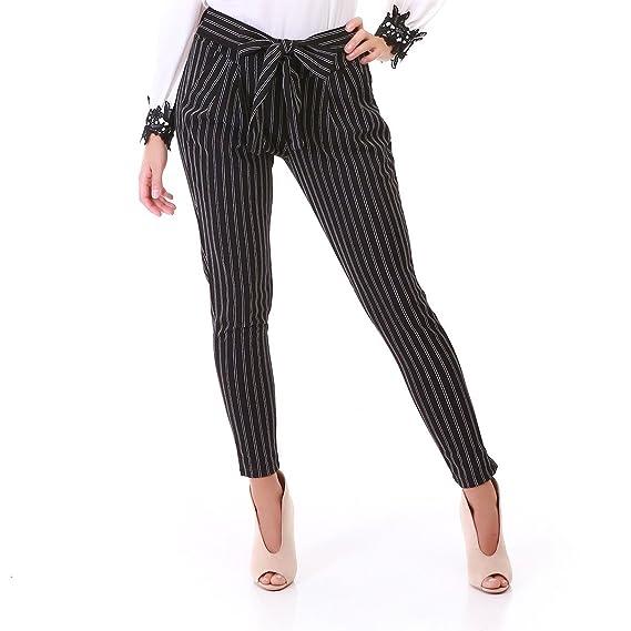 10c5f5454332 La Modeuse - Pantalon Femme Chino à Rayures et Ourlets  Amazon.fr   Vêtements et accessoires