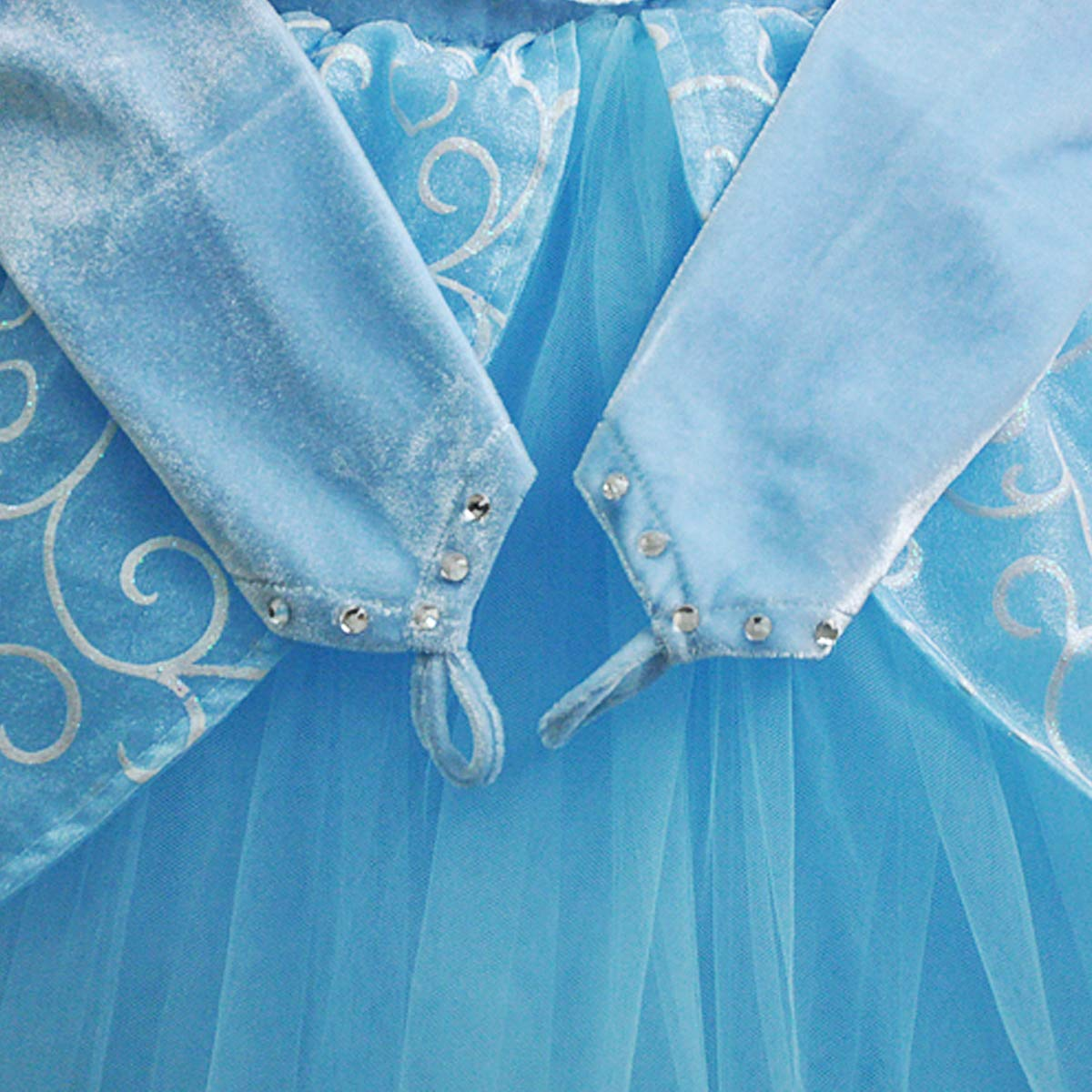 Cinderella Costumes Girls Princess Dress Up Fancy Halloween Christmas Party with Tiara and Choker Set Blue by TYHTYM (Image #7)