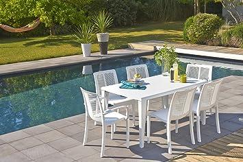 salon de jardin 6 couverts grosfillex alpha 150 x 90 cm blanc ...