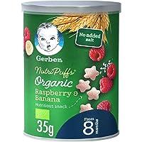 Gerber Organic Nutripuffs Raspberry & Banana Baby Food Can, 35g