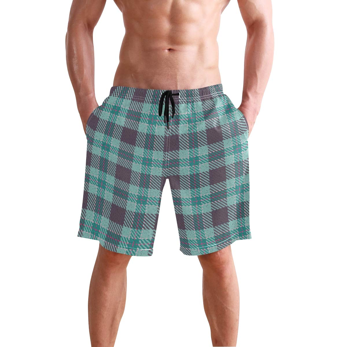 Mens Beach Swim Trunks Striped Plaid Checkered Boxer Swimsuit Underwear Board Shorts with Pocket