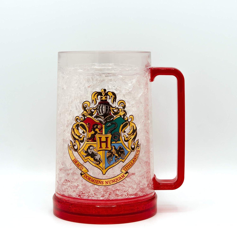 Silver Buffalo Harry Potter's Hogwarts Crest Freeze Gel Plastic Stein, 16-Ounce, Red