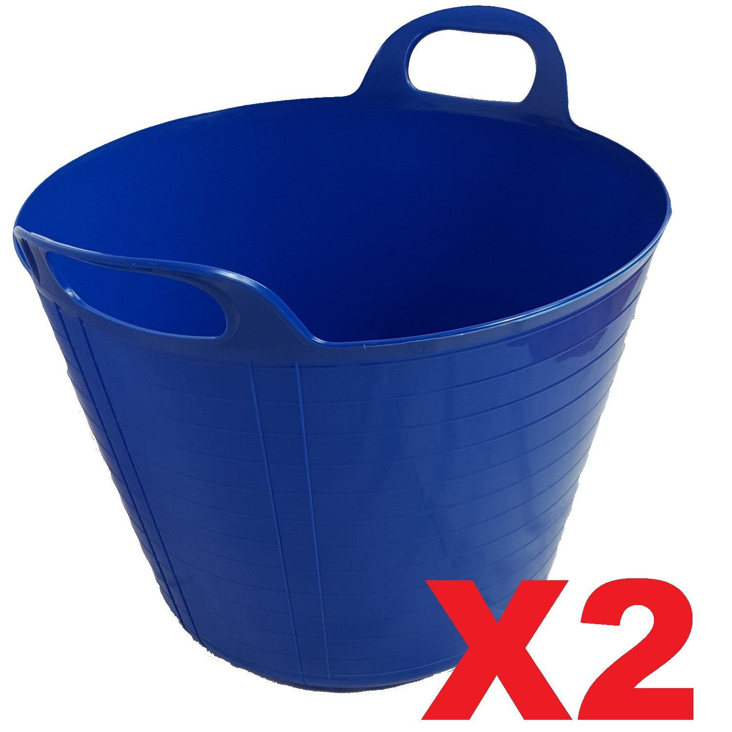 2 x BLUE 42 Litre Large Flexi Tub Garden Home Flexible Colour Rubber Storage Container Bucket Polyethylene Flex Tub - MADE IN U.K. UK