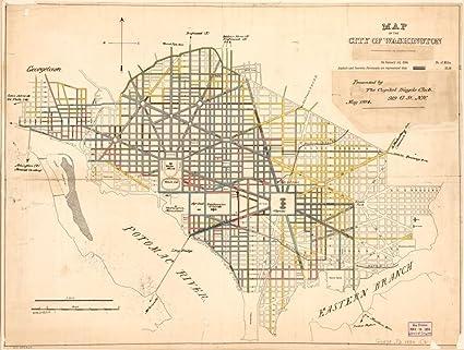 Amazon.com: Vintage 1884 Map of city of Washington. United ...