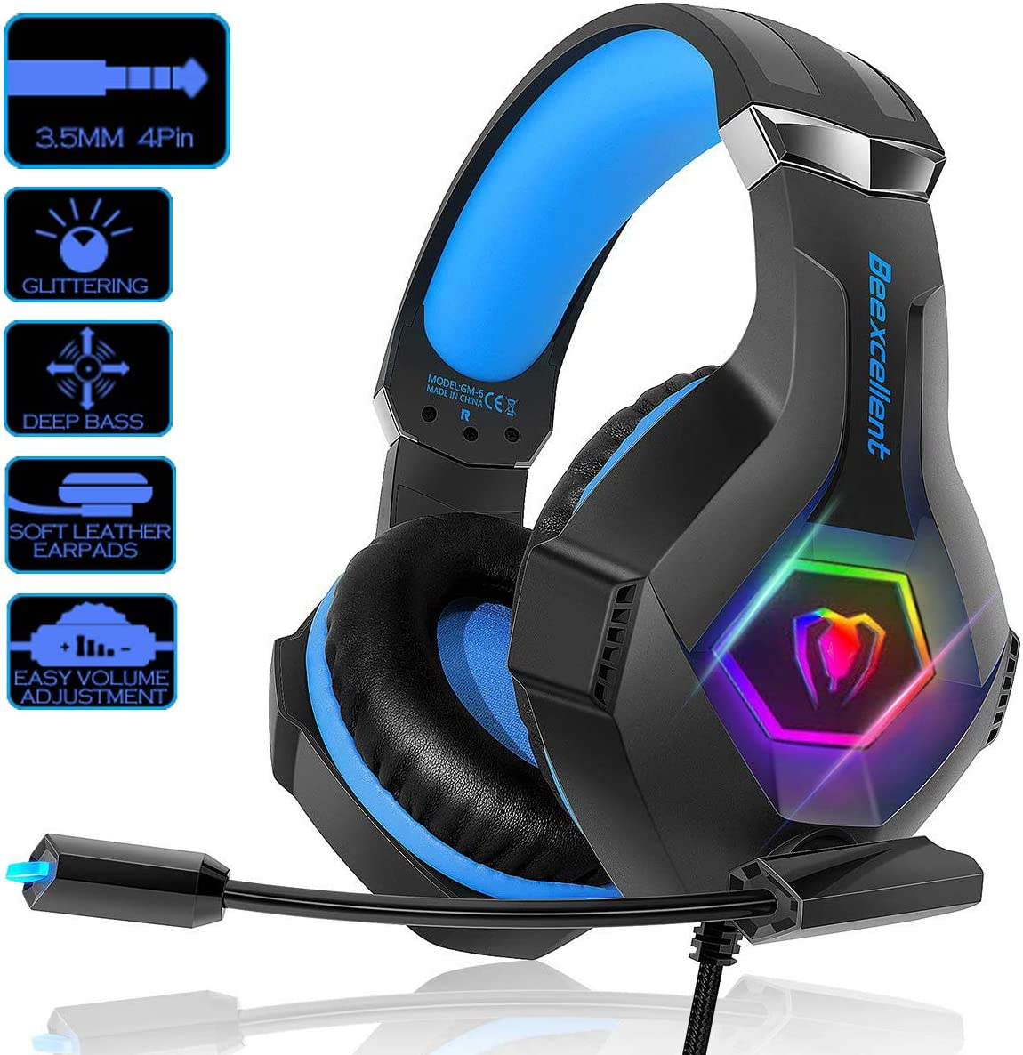 SVYHUOK PS4 Gaming Headset with mic, Over-Ear Headphone for Games, Stereo Surround with Noise Cancelling 3.5mm Jack for PC Laptop
