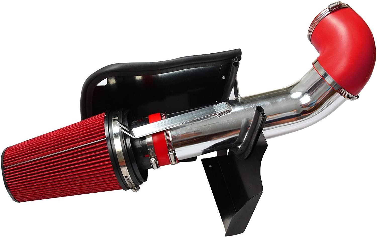 Red BLACKHORSE-RACING 4 Cold Air Intake System Kit Heat Shield for GMC Chevy Chevrolet 1999 2000 2001 2002 2003 2004 2005 2006 V8 4.8L//5.3L//6.0L