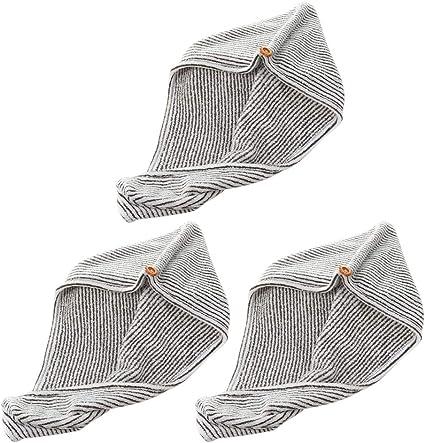 Lurrose 3 piezas gorras de secado de cabello toalla de pelo de ...