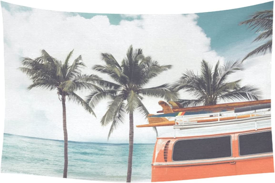 INTERESTPRINT Season Summer Home Decor Tapestries Wall Art, Ocean Beach Palm Tree Bus Tapestry Wall Hanging Art Sets 90 X 60 Inches