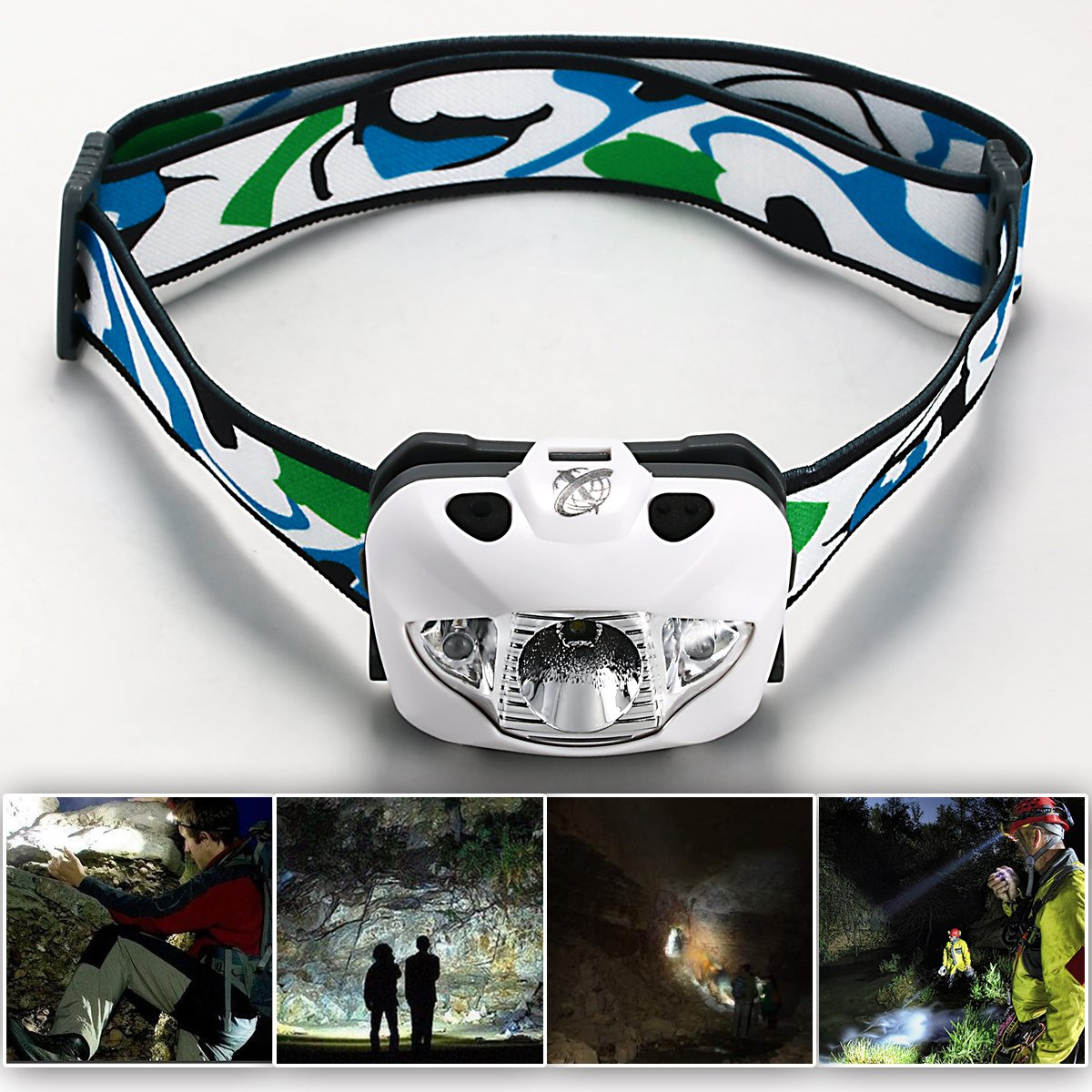 Xcellent Global Professional Compact Light Weight and High Power 160 Lumens Cree R3 White Light LED Headlamp - Red, White, Flashing and Dimmable Modes perfect for Night Running, Hunting, Reading, Hiking, Fishing, Camping, Jogging, Walking. Splash Proof Dur