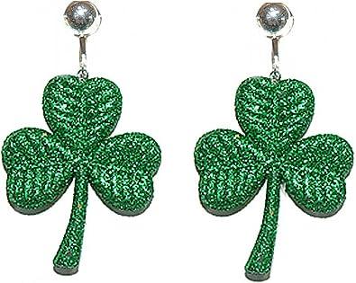 Metal Shamrock Earrings with Green Shell Backdrop