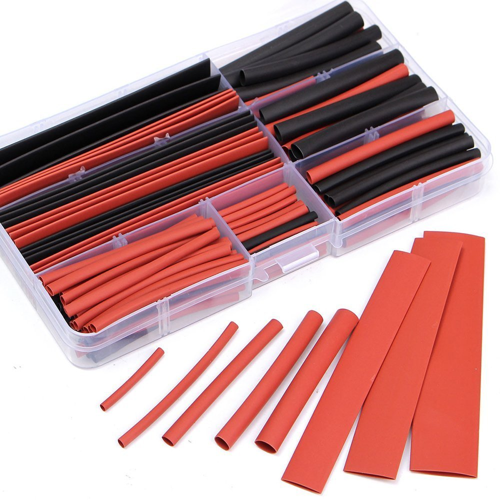 Yakamoz 150pcs 2:1 Polyolefin H-Type Heat Shrink Tubing Tube 8 Sizes Sleeving Wire Cable Kit with Case – Black/Red
