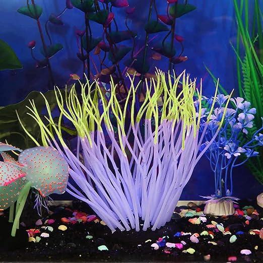 Piebo Acuario de Silicona Tanque de Peces Artificial Coral Planta Adorno Submarino Decoración: Amazon.es: Jardín